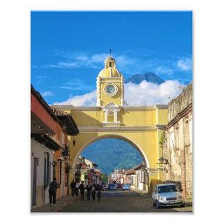 La Merced Arch with volcano above Art Photo