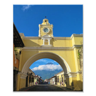 La Merced Arch with volcano Photo Print