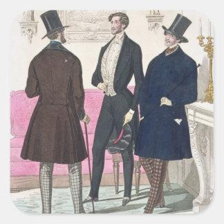 La Mode: Advertisement for 19th Century Men's Fash Square Sticker