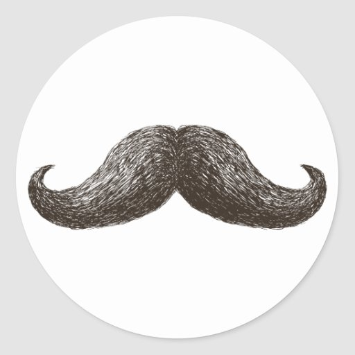 La Moustache (Light) Round Stickers