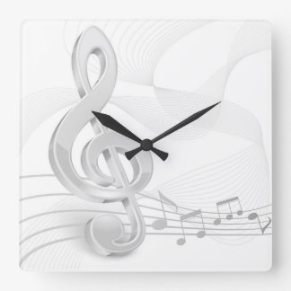 La musique de clef triple note l'horloge murale horloge carrée