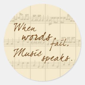 La musique parle autocollants ronds