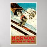 La Norvège - à la maison de l'art de voyage de ski Affiches