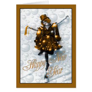 La nouvelle année souhaite la fille de partie carte