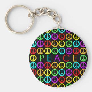La PAIX colorée w/peace signe le noir Porte-clé Rond
