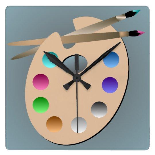 La palette de l 39 artiste et l 39 horloge murale de pin horloge - Horloge murale carree ...