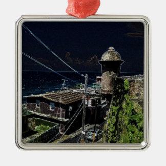 La Perla, Old San Juan Silver-Colored Square Ornament