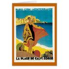 """ La Plage de Calvi"" Vintage Travel Poster Card"
