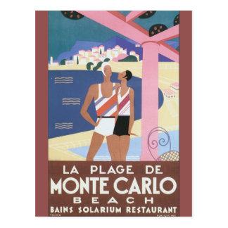 La Plage de Monte Carlo Beach Vintage Travel Poste Postcard