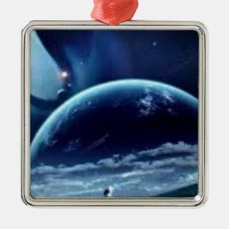 la planet terre metal ornament