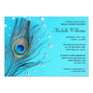 La plume de paon Jewels la douche nuptiale d'Aqua Carton D'invitation 12,7 Cm X 17,78 Cm