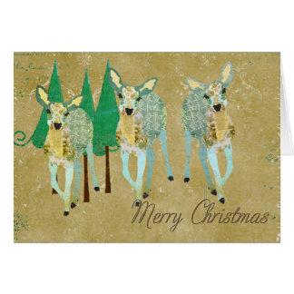 La plus chère carte de Noël d'or et de cerfs commu