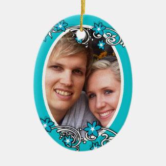 La première photo de mariage de Noël Ornement Ovale En Céramique
