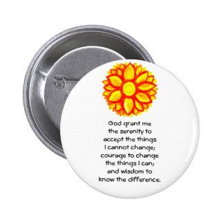 La prière de sérénité avec la fleur jaune rouge de macaron rond 5 cm