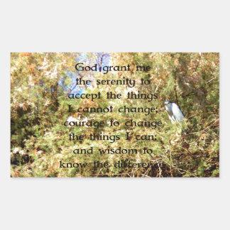 La prière de sérénité avec l'oiseau de photo de autocollant rectangulaire