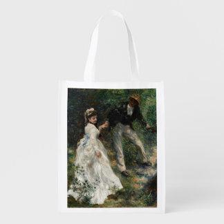 La Promenade Renoir Impressionist Painting Art Reusable Grocery Bag