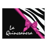 La Quinceanera Zebra and Ribbon Pink Personalized Invites