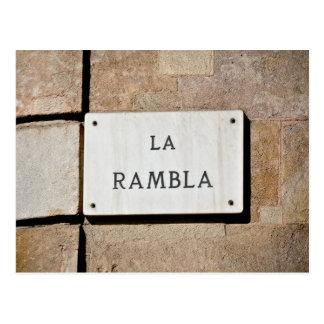 La Rambla Barcelona Spain Postcard Sign