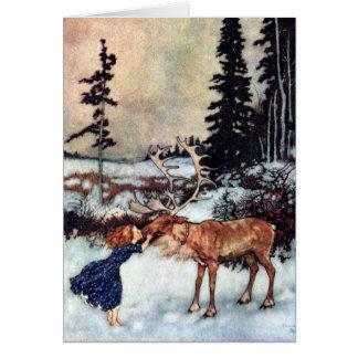 La Reine vintage Gerda de neige et conte de fées Cartes De Vœux