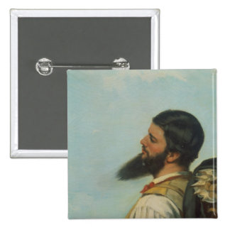 La Rencontre ou Bonjour M.Courbet, 2 Inch Square Button