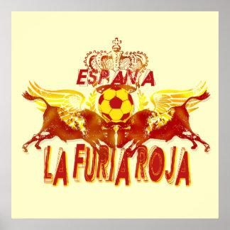 La Roja Twin Toros Raging Bulls futbol kings Poster