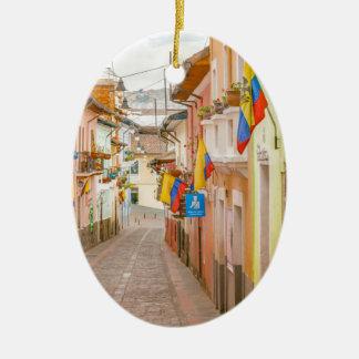 La Ronda Street Quito Ecuador Ceramic Oval Ornament