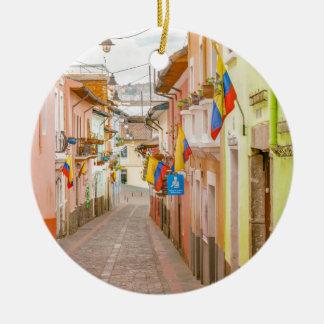 La Ronda Street Quito Ecuador Round Ceramic Ornament