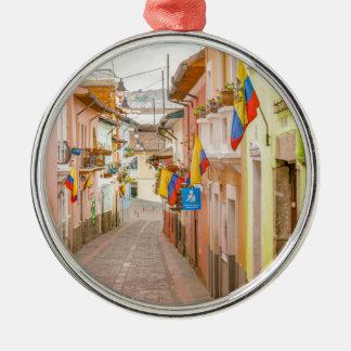 La Ronda Street Quito Ecuador Silver-Colored Round Ornament