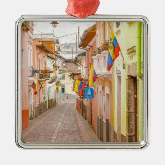 La Ronda Street Quito Ecuador Silver-Colored Square Ornament