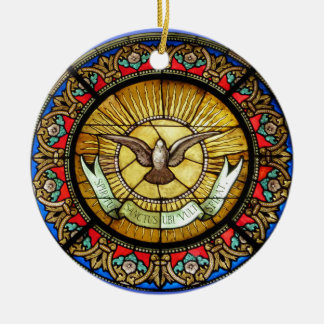 La Sainte-Chapelle  Stained glass window Round Ceramic Ornament