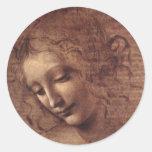 La Scapigliata Female Head Classic Round Sticker