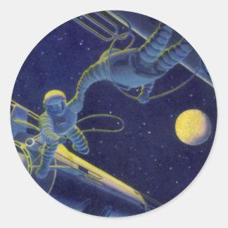 La science-fiction vintage, alien de Sci fi sur le Sticker Rond
