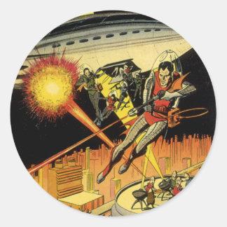 La science-fiction vintage Sci fi aliens de lutt Adhésifs Ronds