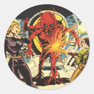 La science-fiction vintage Sci fi, combattant Sticker Rond