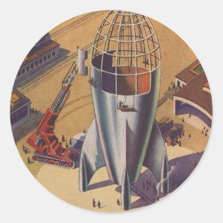 La science-fiction vintage, Sci fi, construisant Sticker Rond