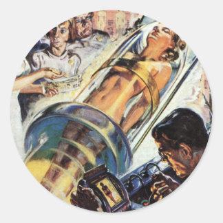 La science-fiction vintage, Sci fi, expérience Sticker Rond