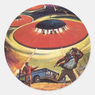 La science-fiction vintage, Sci fi, invasion Sticker Rond