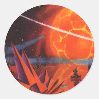 La science-fiction vintage Sci fi planète ardent Autocollant Rond