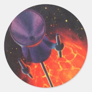 La science-fiction vintage, Sci fi, planète de Sticker Rond