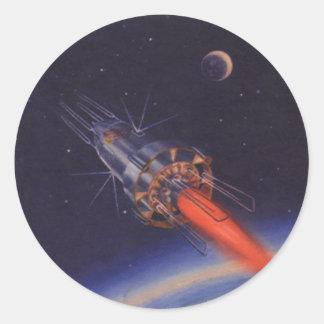 La science-fiction vintage, Sci fi Rocket Sticker Rond