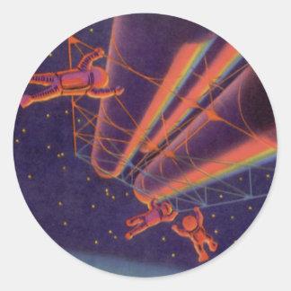 La science-fiction vintage, Sci fi, Spacewalk Sticker Rond
