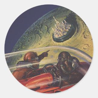 La science-fiction vintage, Sci fi, ville lunaire Sticker Rond