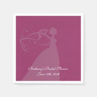 La silhouette de jeune mariée personnalisent les serviette en papier