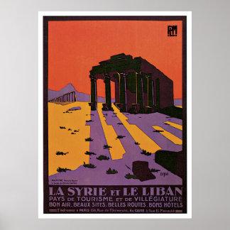 La Syrie et affiche de voyage de Le Liban Vintage
