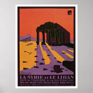 La Syrie et Le Liban vintage travel poster
