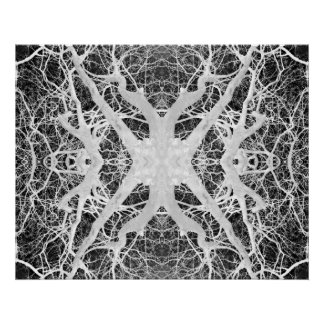La toile de l'araignée inverse de cime d'arbre poster