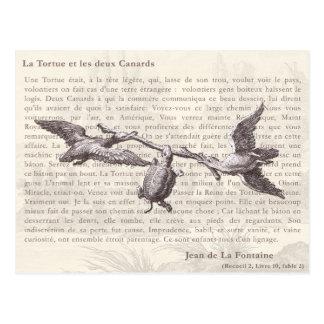 La Tortue et les deux Canards: Jean de La Fontaine Postcard