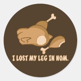 La Turquie : J'ai perdu ma jambe dans Nom Autocollant Rond