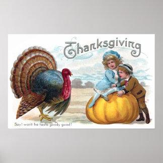 La Turquie, les enfants et le grand thanksgiving d Poster