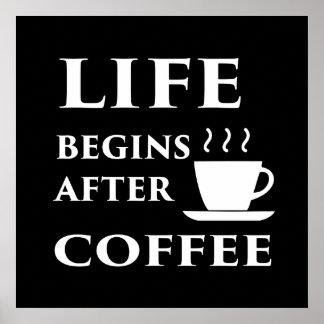 La vie commence après affiche de café